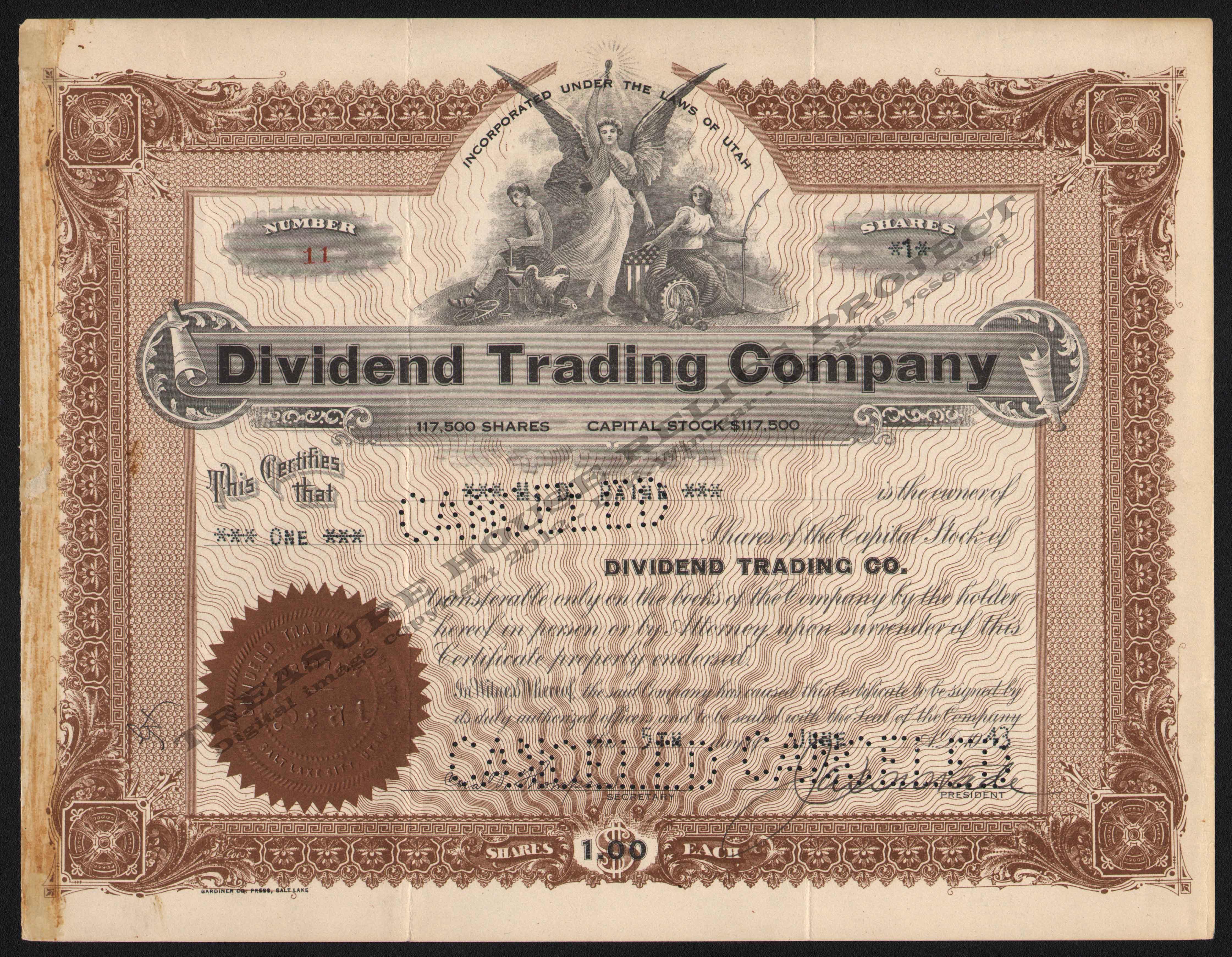 Utah mining stocks d for Dividend certificate template